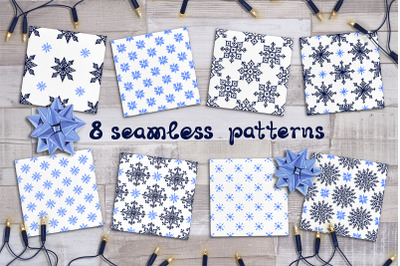 8 seamless patterns with Christmas snowflakes