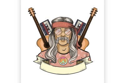 Hand drawn sketch hippie man 1