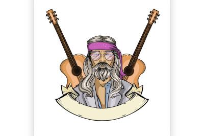 Hand drawn sketch hippie man 2