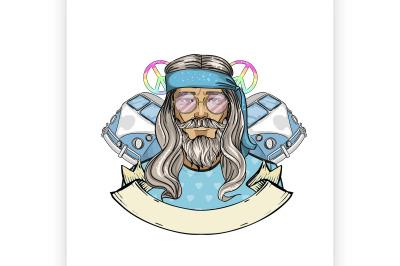 Hand drawn sketch hippie man 3