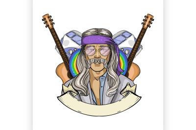 Hand drawn sketch hippie man 4