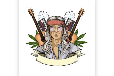 Hand drawn sketch hippie man 5
