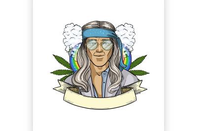 Hand drawn sketch hippie man 6