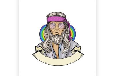Hand drawn sketch hippie man 7