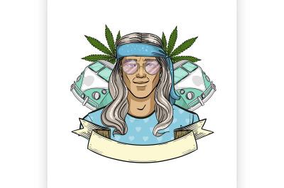 Hand drawn sketch hippie man 8