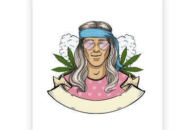 Hand drawn sketch hippie man 9