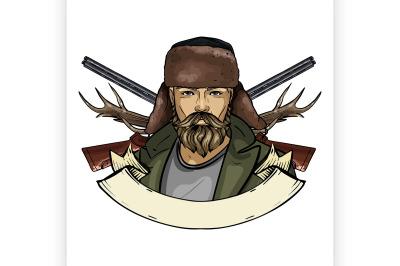 Hand drawn color sketch hunter man 1
