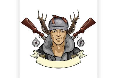Hand drawn color sketch hunter man 2