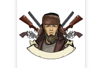 Hand drawn color sketch hunter man 3