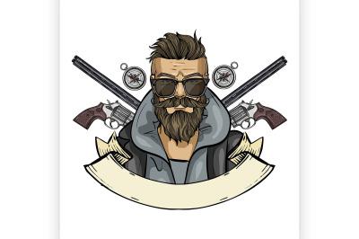 Hand drawn color sketch hunter man 5