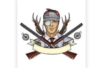 Hand drawn color sketch hunter man 10