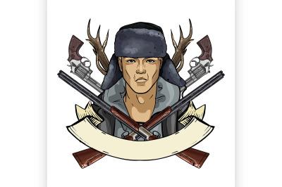 Hand drawn color sketch hunter man 12