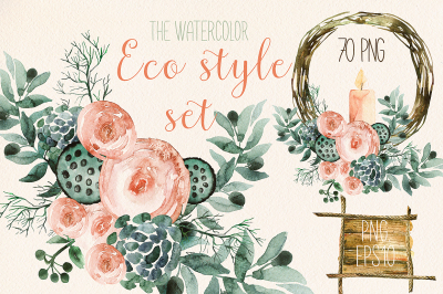 Watercolor eco style set
