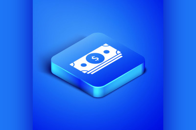 Isometric Stacks paper money cash icon isolated on blue background. Mo
