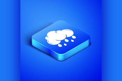 Isometric Cloud with rain icon isolated on blue background. Rain cloud