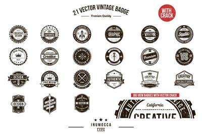 21 Vintage Badges (CLEAR & CRACK)