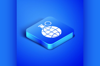 Isometric Planet earth and a recycling icon isolated on blue backgroun