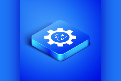 Isometric Recycle symbol and gear icon isolated on blue background. Ci