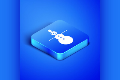 Isometric Christmas snowman icon isolated on blue background. Merry Ch
