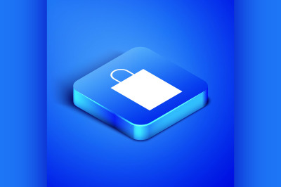 Isometric Paper shopping bag icon isolated on blue background. Package