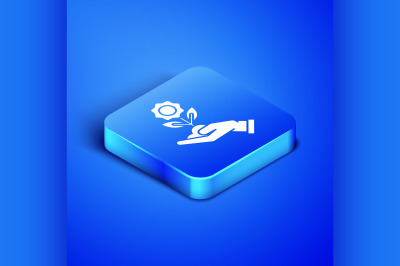 Isometric Hand holding flower icon isolated on blue background. Seed a