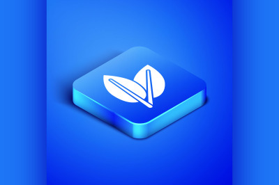 Isometric Leafs icon isolated on blue background. Fresh natural produc