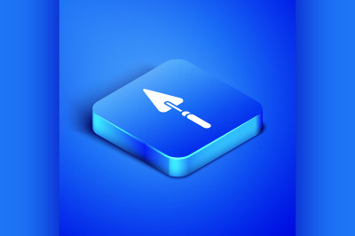 Isometric Garden trowel spade or shovel icon isolated on blue backgrou