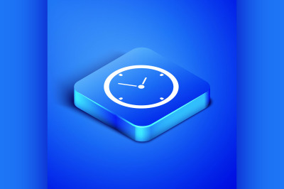 Isometric Clock icon isolated on blue background. Time symbol. Blue sq