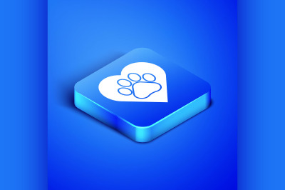 Isometric Heart with animals footprint icon isolated on blue backgroun