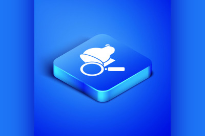 Isometric Veterinary clinic symbol icon isolated on blue background. M