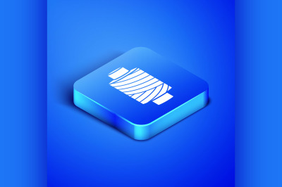 Isometric Sewing thread on spool icon isolated on blue background. Yar