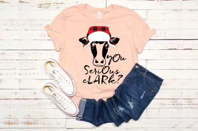 Cow whit Lumberjack Hat You Serious Clark? Flap Lumberjack SVG 1619s