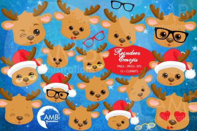 Reindeer emojis, reindeer emoticons AMB-2696