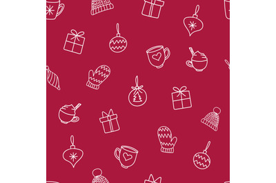 Christmas decorations doodlesseamless repeatingpattern