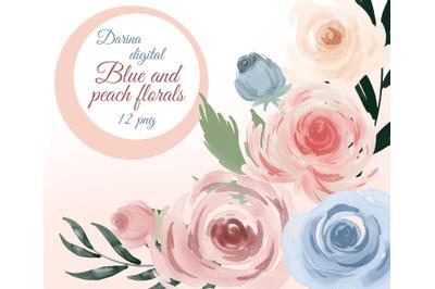 Watercolor single flowers clipart