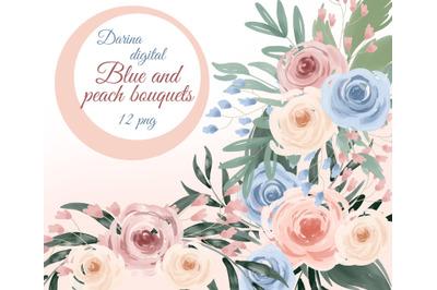 Watercolor flower bouquets