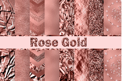 Rose Gold Textures With Foil and Glitter Digital Paper