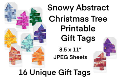 Snowy Abstract Christmas Tree Printable Gift Tags