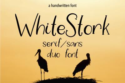 WHITE STORK. A HANDWRITTEN DUO FONT.