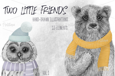 Two little friends - graphic set