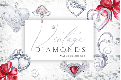 Watercolor Vintage Diamonds and Hearts