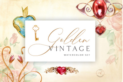 Golden Vintage Jewelry and Hearts