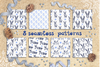 8 seamless patterns with Christmas deer