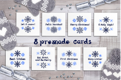 8 hand drawn greeting cards with snowflakes