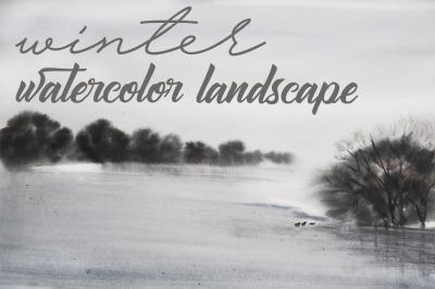 watercolor landscape, winter.tree and birds