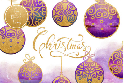 Christmas Balls Ornament Clipart Set