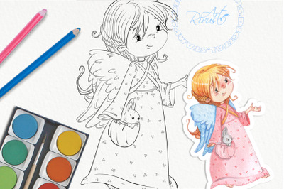 Christmas Angel Digital Stamp. Cute girl Download. Digi stamp, colorin