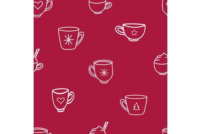 Doodle coffee mugs and tea cupsseamless repeatingpattern