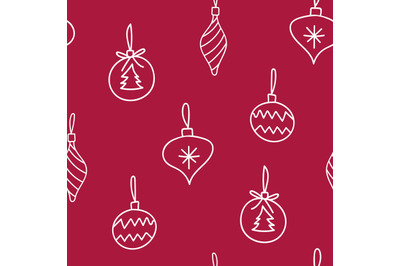 Doodle Christmas tree decorationsseamless repeatingpattern