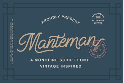Manteman - Monoline Script Font